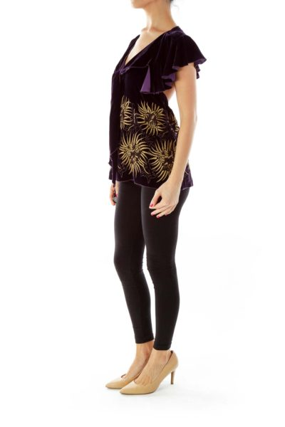 Purple & Gold Velvet Embroidered Top