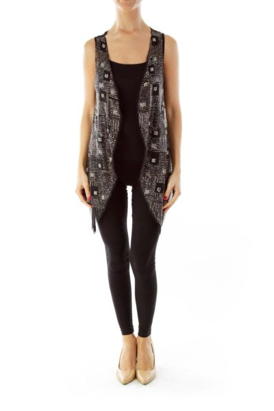 Black Beaded Fancy Vest