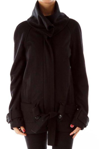Black Wool Zippered Coat