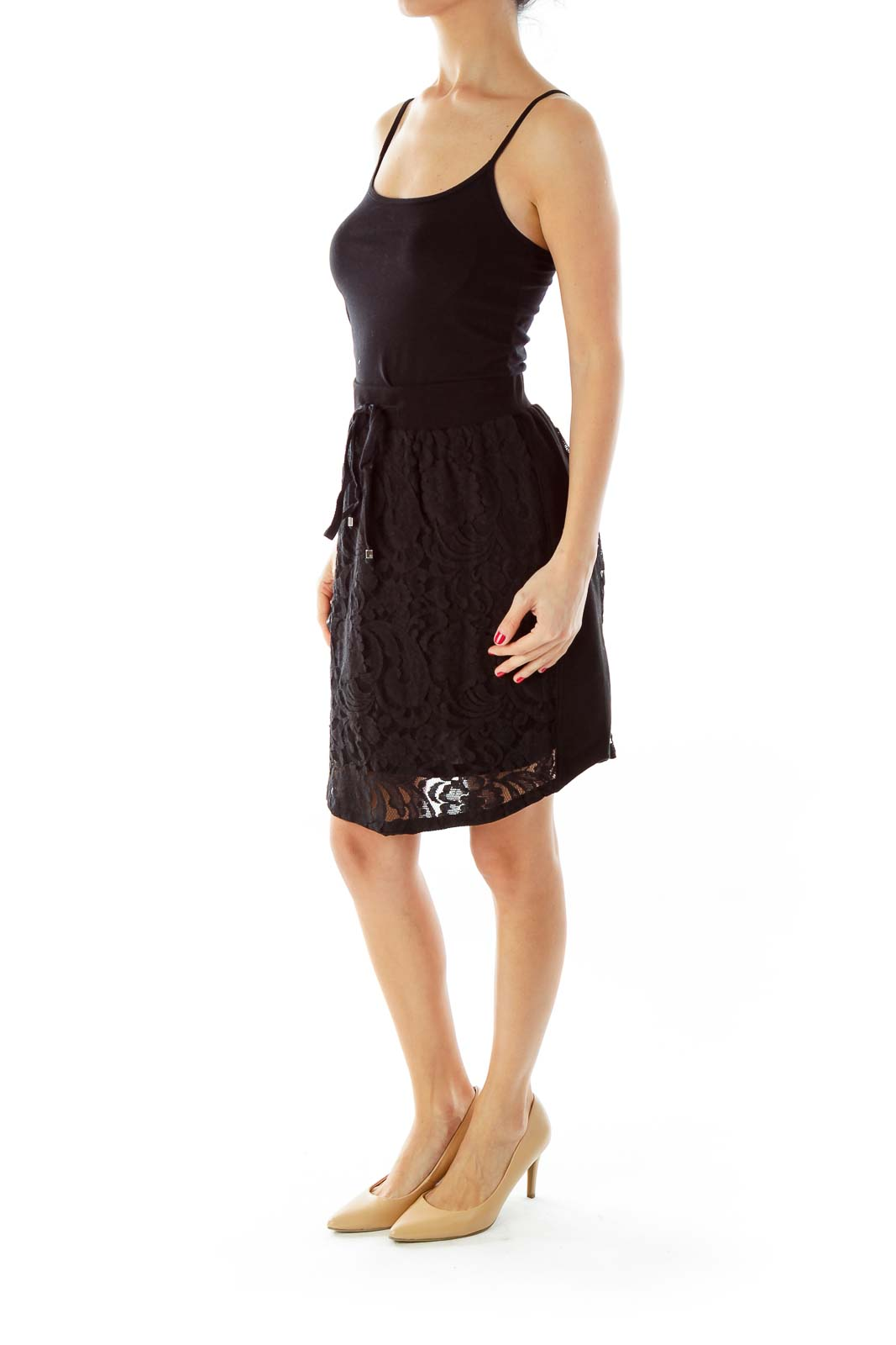 Black Lace Drawstring Mini Skirt