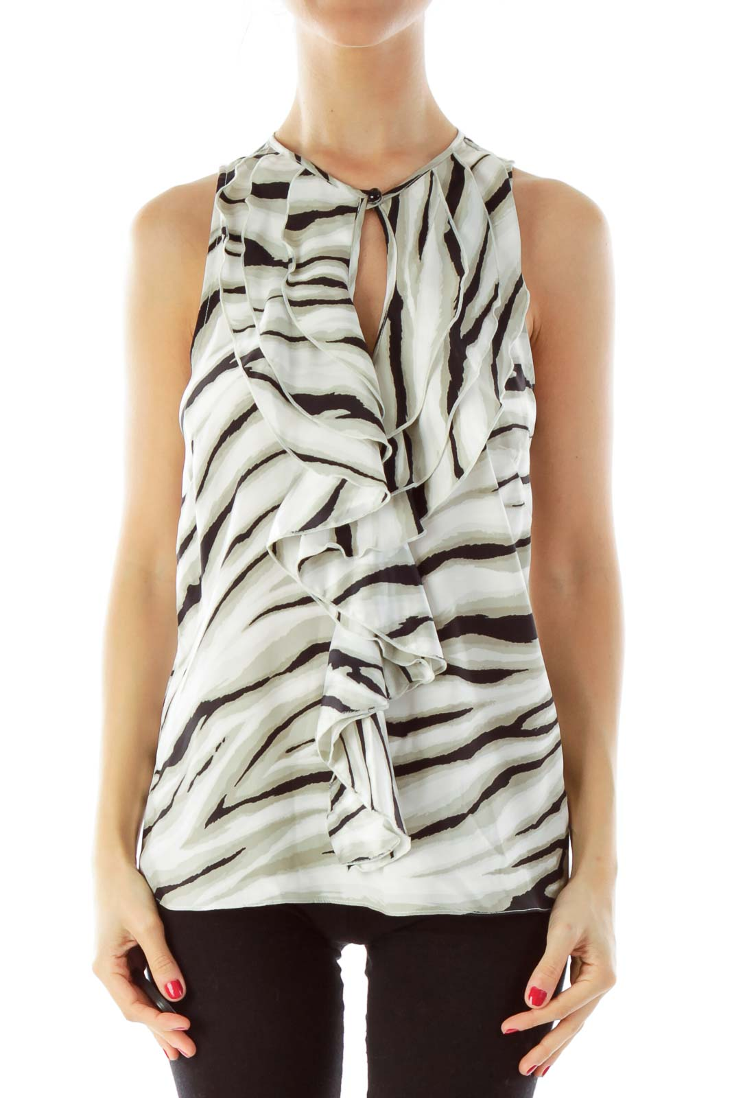 Gray & Black Zebra Print Blouse