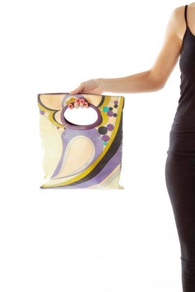 Beige & Purple Vintage Print Clutch