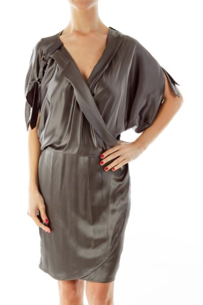 Gray Silk Wrap Dress
