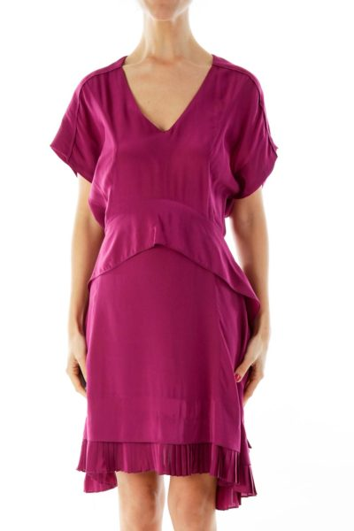 Purple Ruffled Cocktail Dress