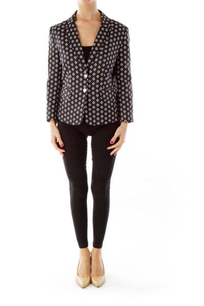 Black & White Geometric Print Blazer