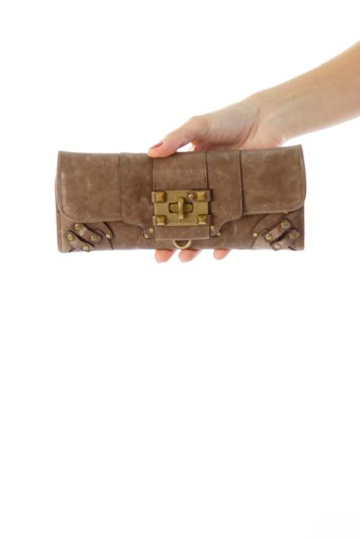 Brown Leather Buckle Detail Wallet