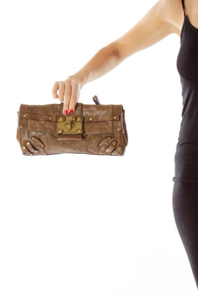 Brown Buckle Detail Clutch