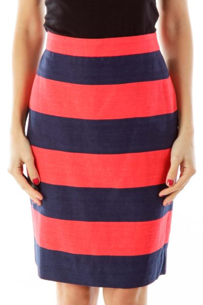 Navy & Red Stripe Skirt