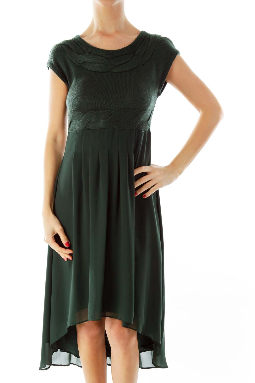 Green Knit Detail Dress