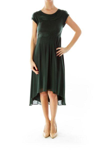 Green Knit Detail Dress