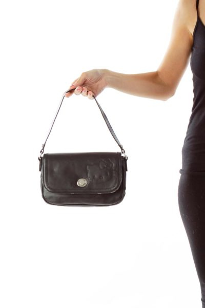 Black Leather Hello Kitty Shoulder Bag