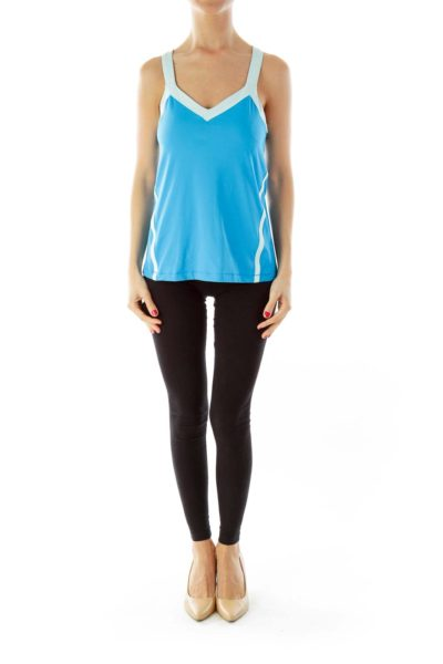 Blue Striped Athletic Top