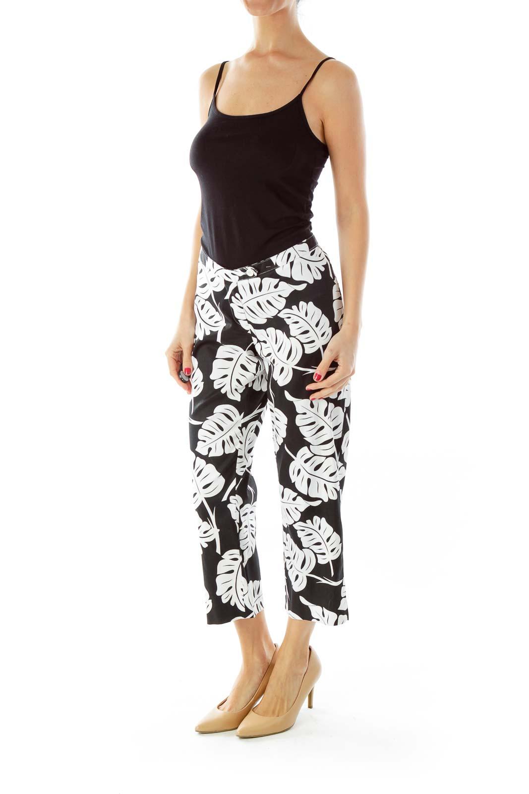 Black & Floral Print Pants