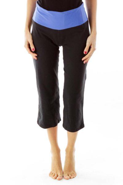 Black & Blue Cropped Yoga Pants