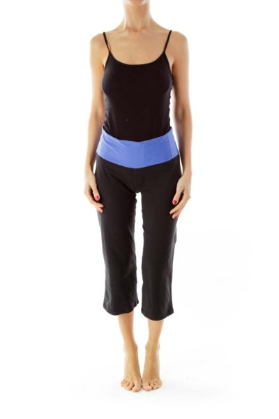 Black & Blue Cropped Yoga Pants