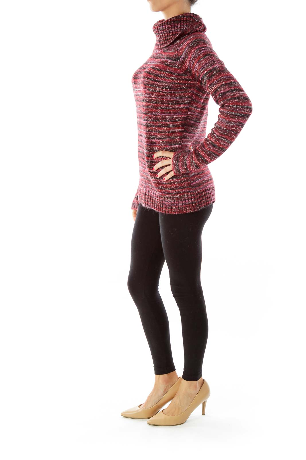 Red & Black Turtle-Neck Sweater