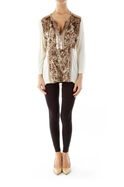 Cream & Brown Fuzzy Sequined Skirt