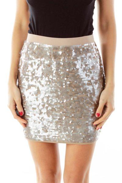 Champaign Sequin Mini Skirt