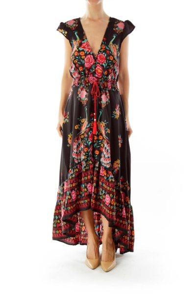 Black Floral Open Maxi Dress