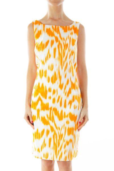 Orange & White Printed Work Dress