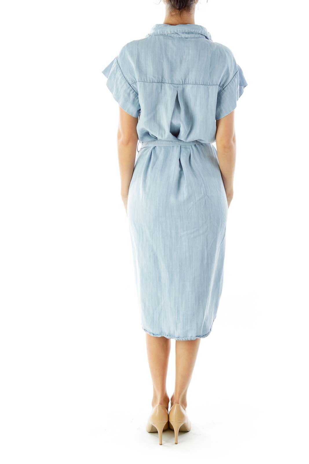Light Wash Denim Shirt Dress