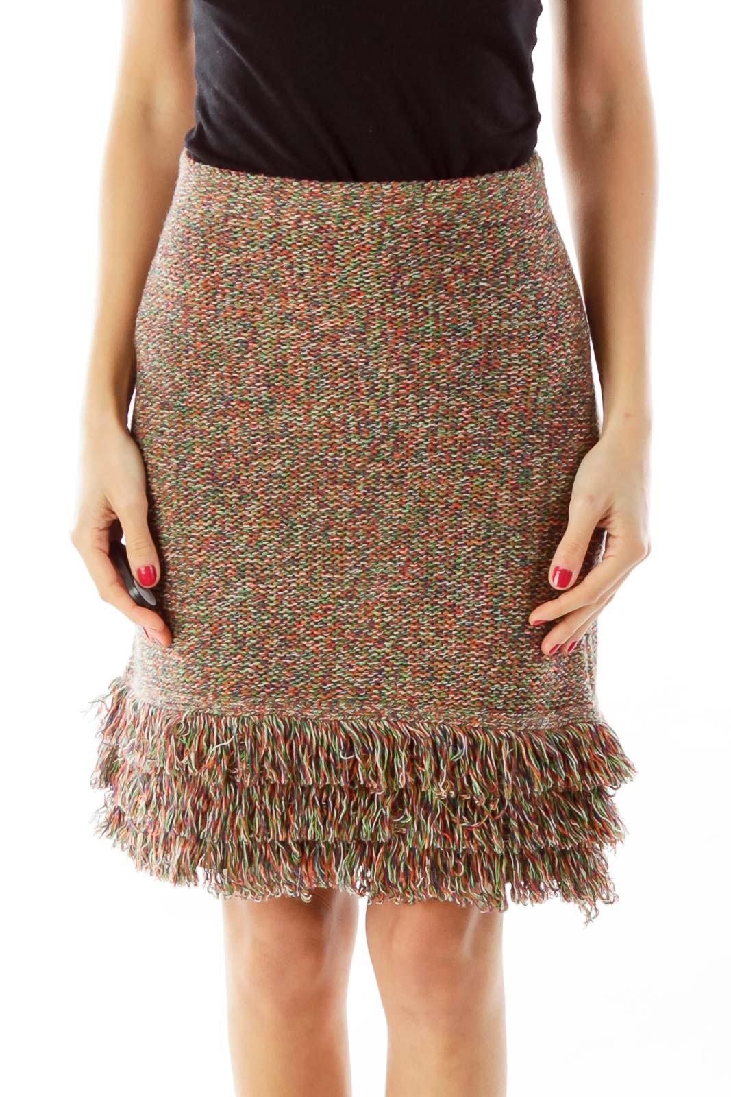 Multicolor Fringe Knit Skirt