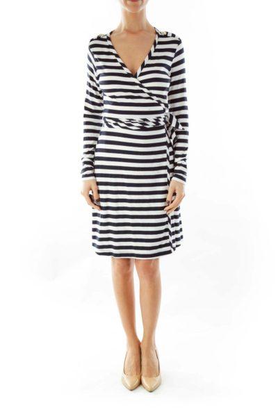 Navy Blue & White Striped Wrap Dress