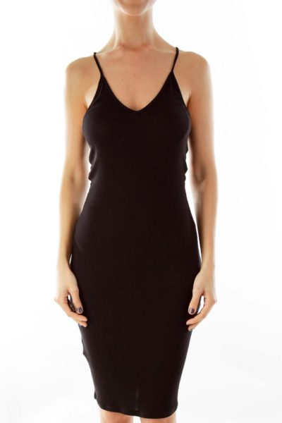 Black Spaghetti Strap Knit Slip Dress
