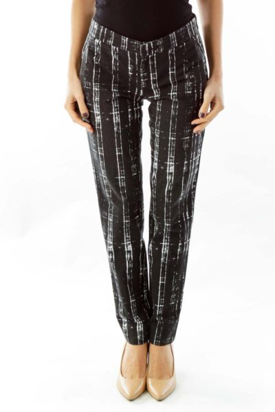 Black & White Acid Wash Slim Ankle Trousers