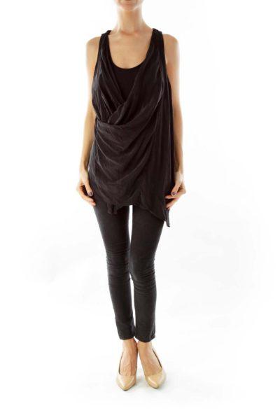 Black Silk-Chiffon Sleeveless Blouse