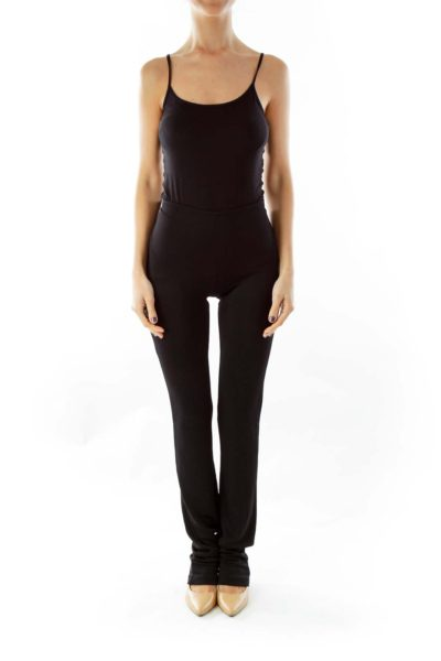 Black Extremely High-Waisted Slim Pants
