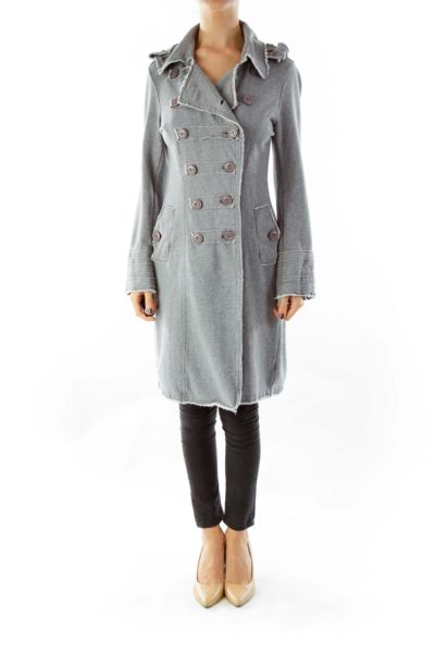 Gray Buttoned Sweater Coat