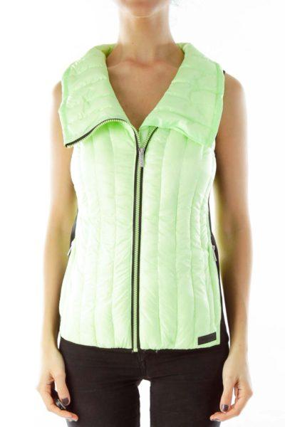Green & Black Zippered Vest