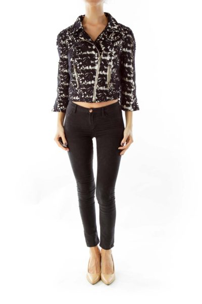 Black & White Lace Fitted Jacket