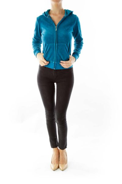 Blue Velvet Hooded Jacket