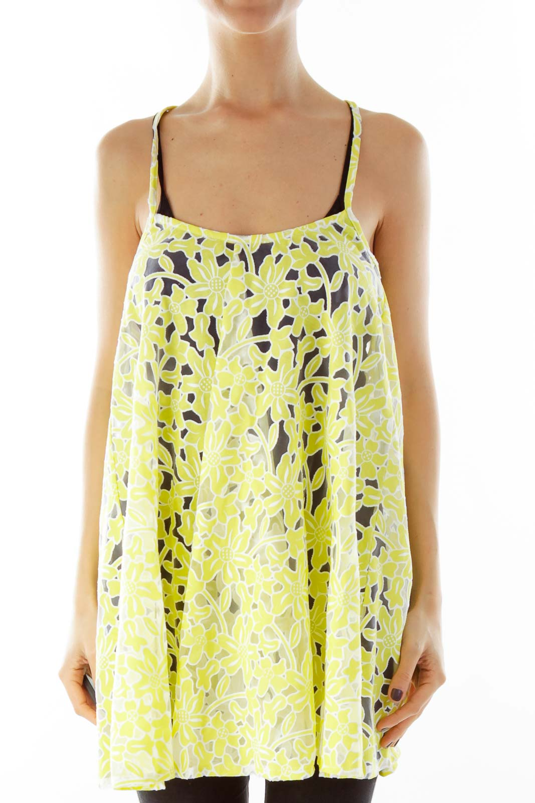 Yellow Floral Lace Tank Top