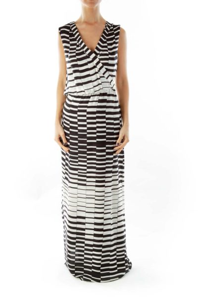 Black Cream Striped Maxi Dress