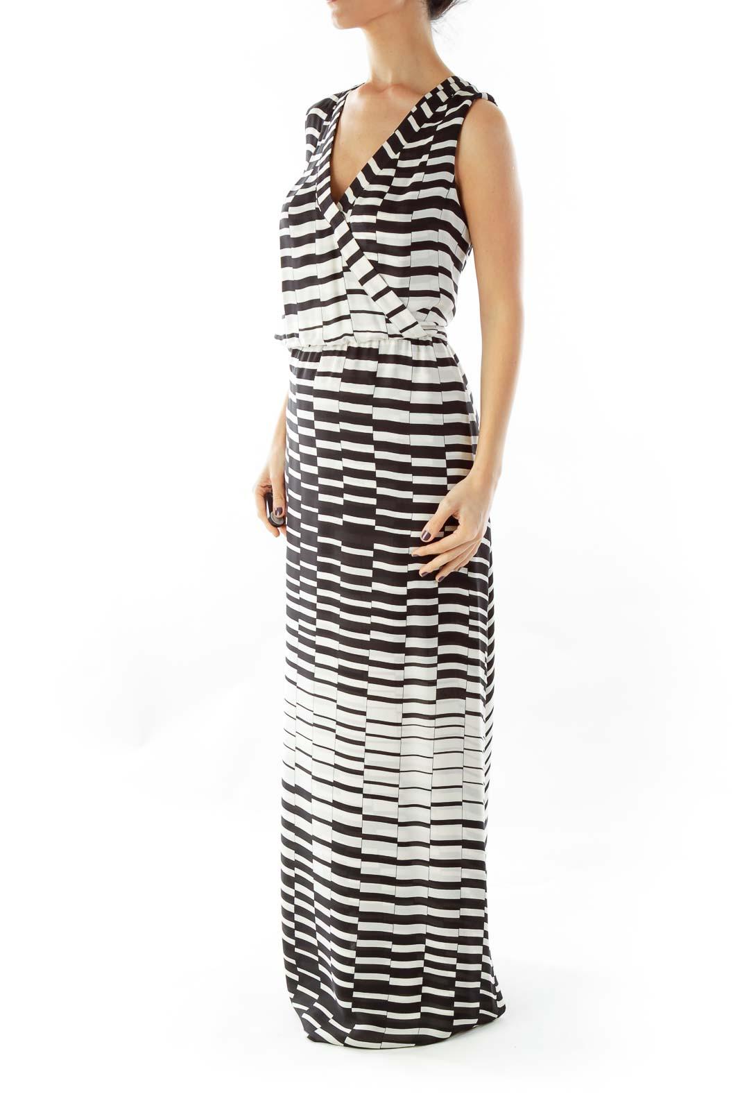 Black Cream Striped Maxi Dress