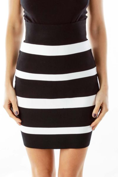 Black & White Striped Pencil Skirt