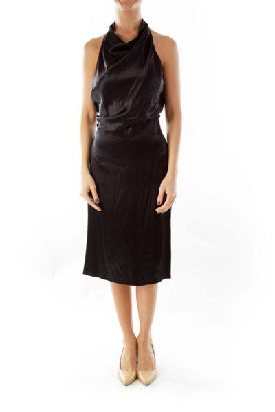 Black Silk Open-Back Dress