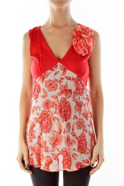 Red Flower Print Blouse