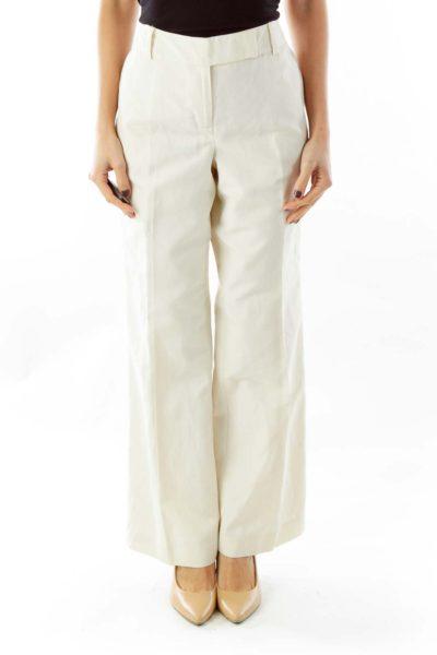 Beige Canvas Straight-Leg Pants