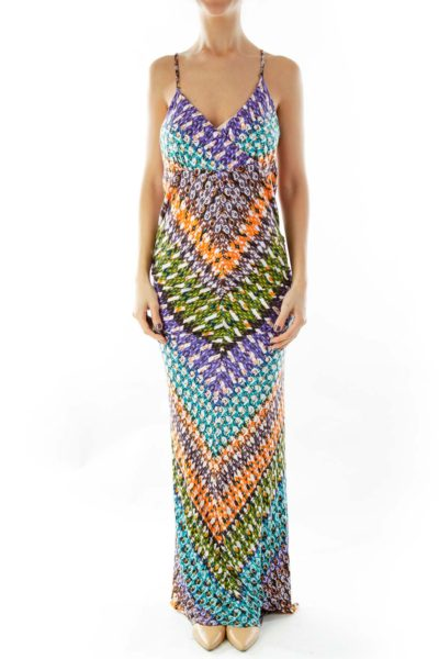Multicolor Print Maxi Dress