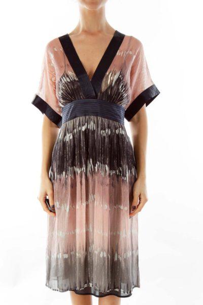 Pink & Black Metallic Detail Dress
