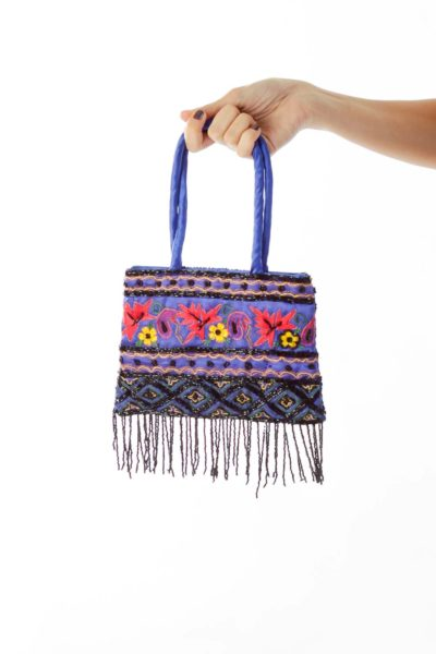 Blue Embroidered Clutch with Beading