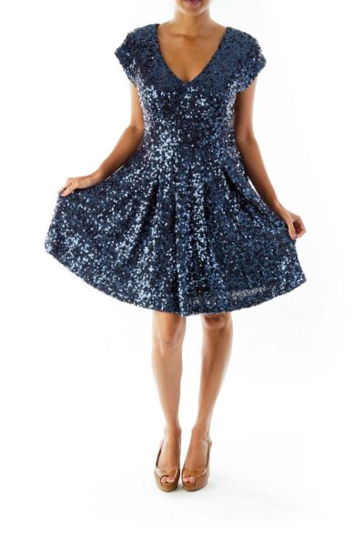 Navy Sequined Party Dress