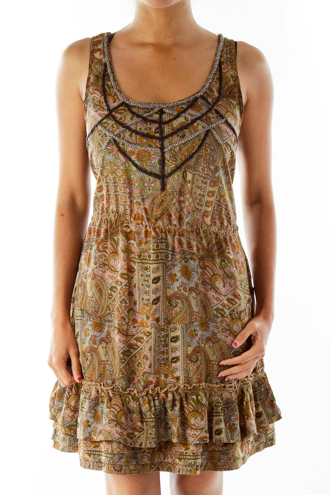 Olive Green Print Embroidered Dress