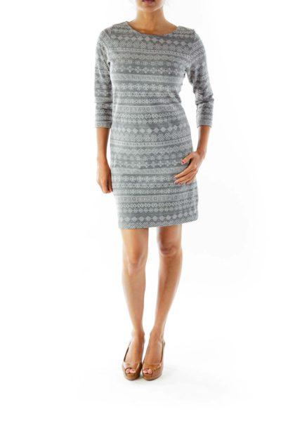 Gray Greek Key Knit Dress