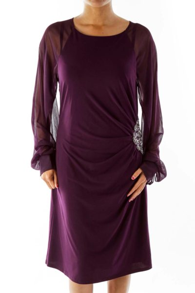 Purple Embroidered Fitted Dress
