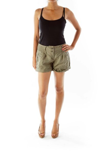 Army Green Linen Shorts